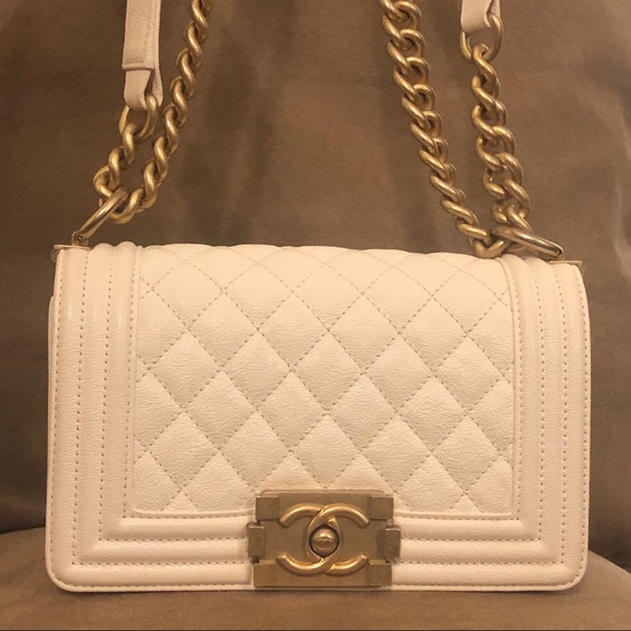CHANEL Handbags - Chanel Small Le Boy White Gold Caviar Bag